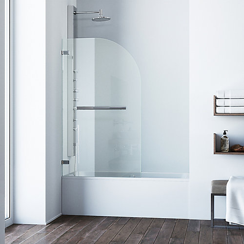 Orion 34 inch x 58 inch Pivot Clear Curved Tub Door in Chrome