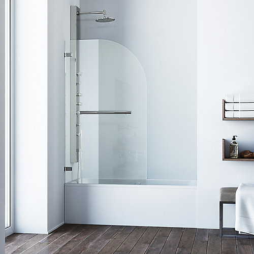Orion 34 inch x 58 inch Frameless Hinged Tub Door in Stainless Steel with Clear Glass