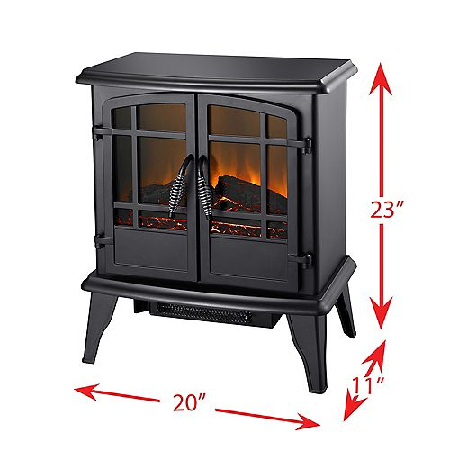 20-inch Electric Stove Fireplace in Matte Black