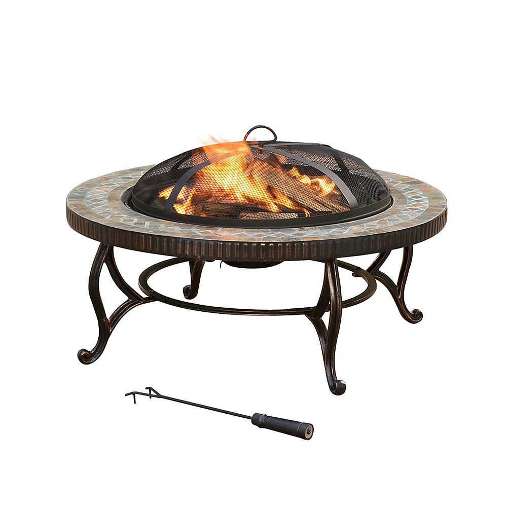 Pleasant Hearth Elizabeth 34-inch Round Slate Fire Pit