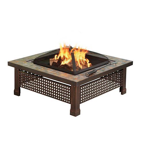 Bradford 34-inch Outdoor Fire Pit in Slate