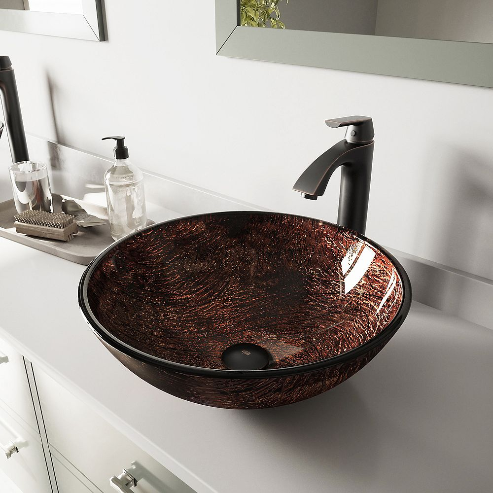 VIGO Glass Vessel Bathroom Sink in Brown Kenyan Twilight and Linus Faucet Set in Antique Rubbed Bronze