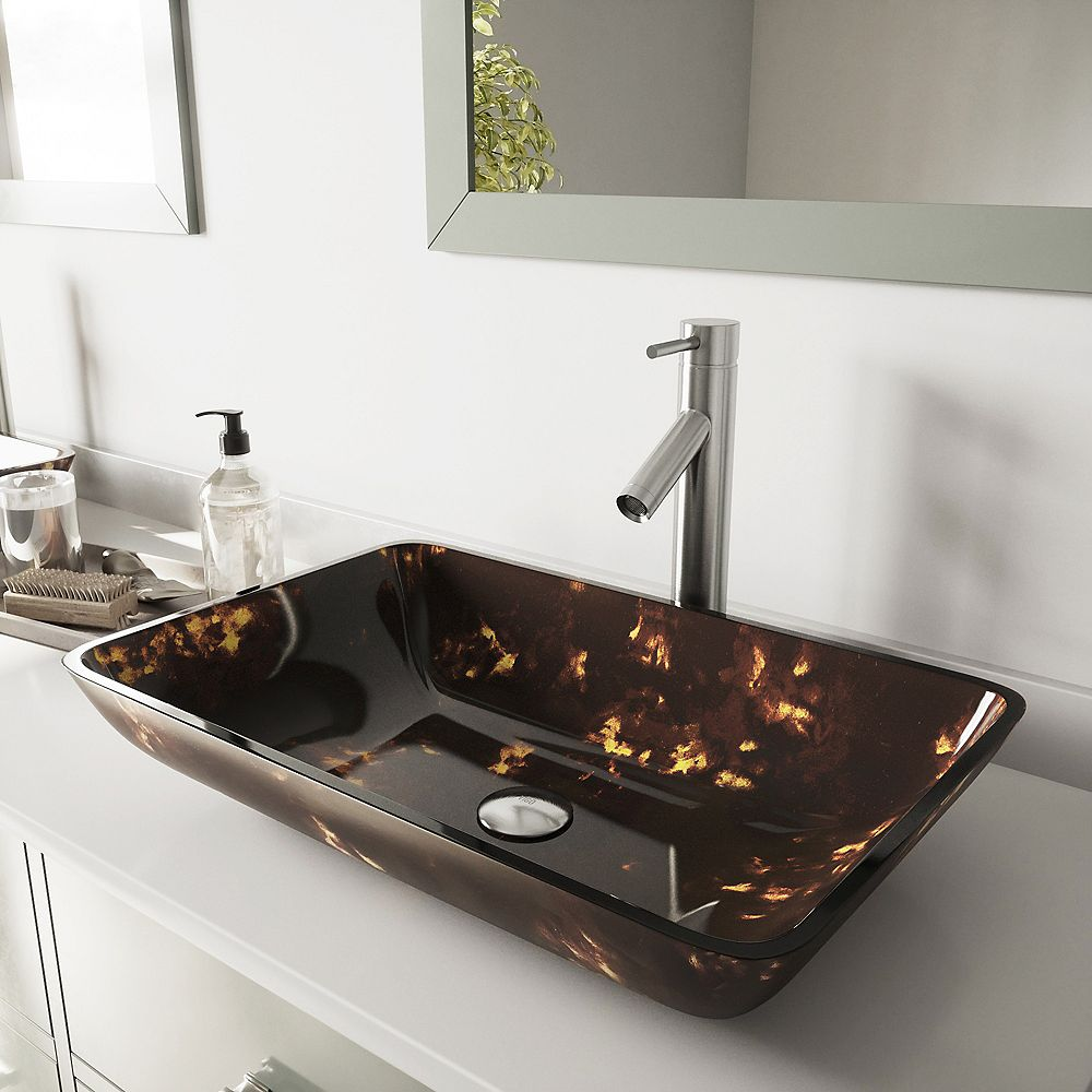 VIGO Rectangular Glass Bathroom Vessel Bathroom Sink in Brown and Gold Fusion and Dior Faucet Set in Brushed Nickel