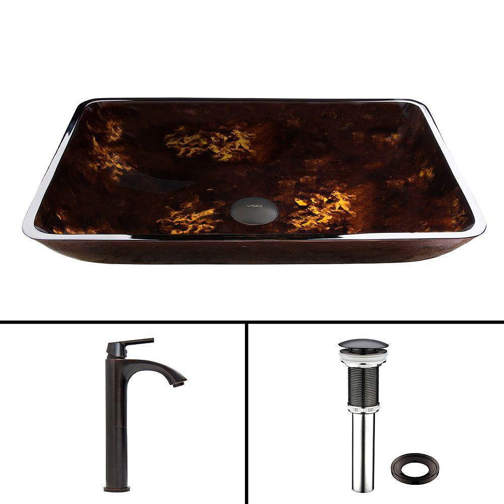 VIGO Rectangular Glass Vessel Sink in Brown and Gold Fusion with Linus Faucet in Antique Rubbed Bronze