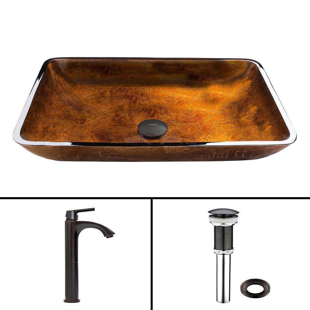 VIGO Rectangular Glass Vessel Sink in Russet with Linus Faucet in Antique Rubbed Bronze