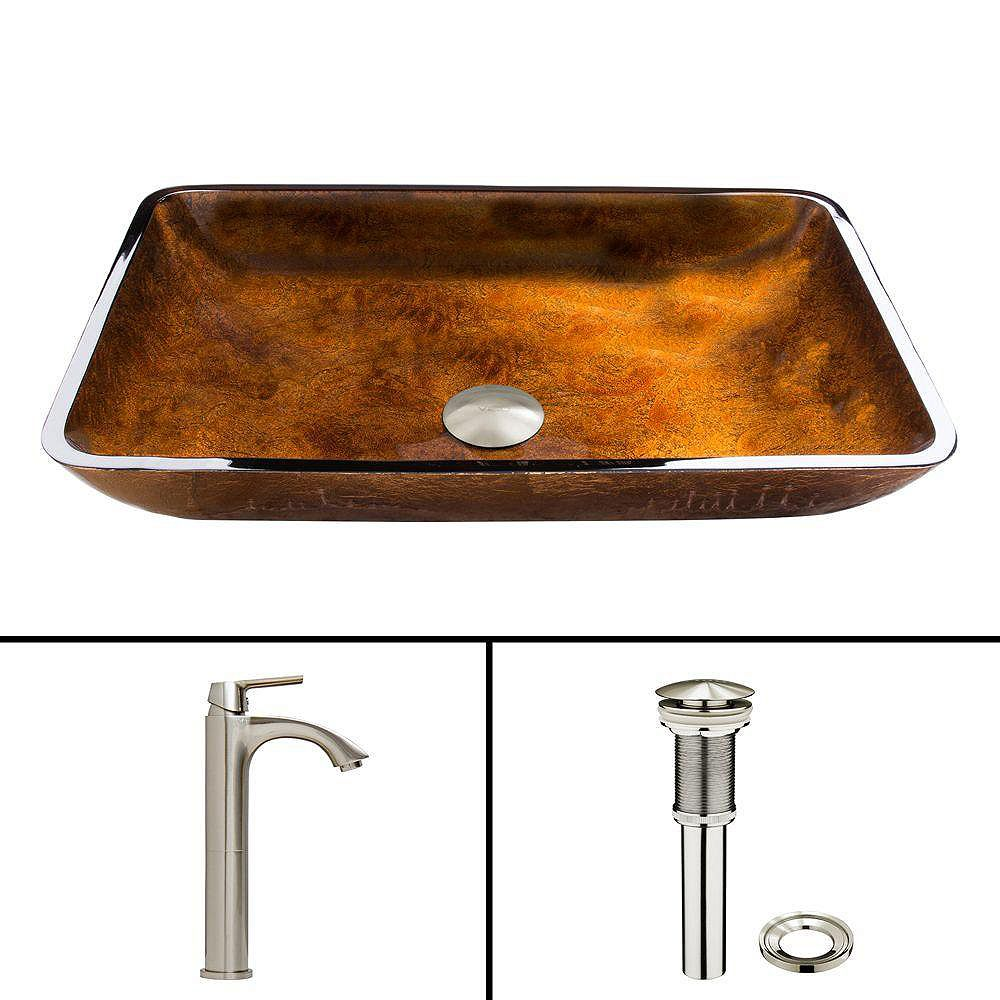 VIGO Glass Vessel Sink in Rectangular Rusin with Linus Faucet in Brushed Nickel