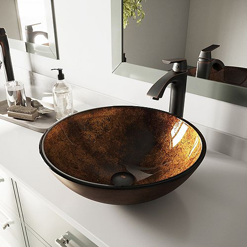 VIGO Glass Vessel Bathroom Sink in Russet and Linus Faucet Set in Antique Rubbed Bronze