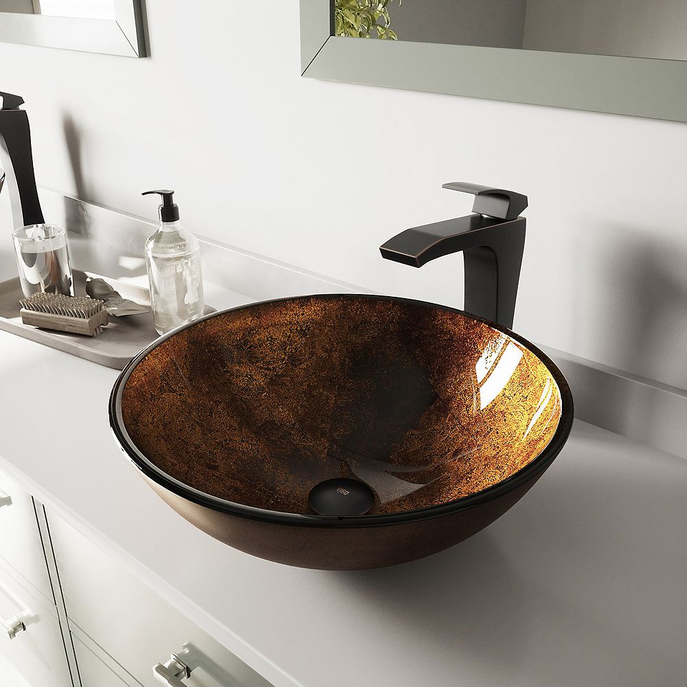 VIGO Glass Vessel Bathroom Sink in Russet and Blackstonian Faucet Set in Antique Rubbed Bronze