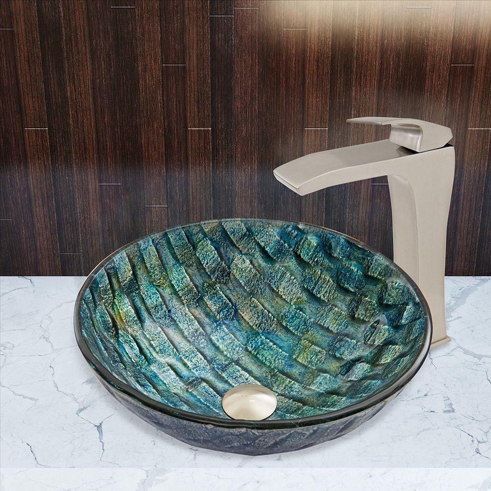 VIGO Glass Vessel Bathroom Sink in Oceania Blue and Blackstonian Faucet Set in Brushed Nickel