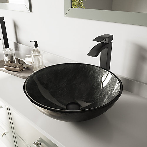 Glass Vessel Bathroom Sink in Gray Onyx and Duris Faucet Set in Matte Black