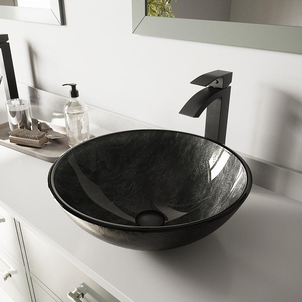 VIGO Glass Vessel Bathroom Sink in Gray Onyx and Duris Faucet Set in Matte Black