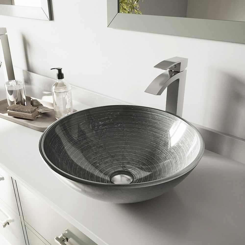 VIGO Glass Vessel Bathroom Sink in Simply Silver and Duris Faucet Set in Brushed Nickel