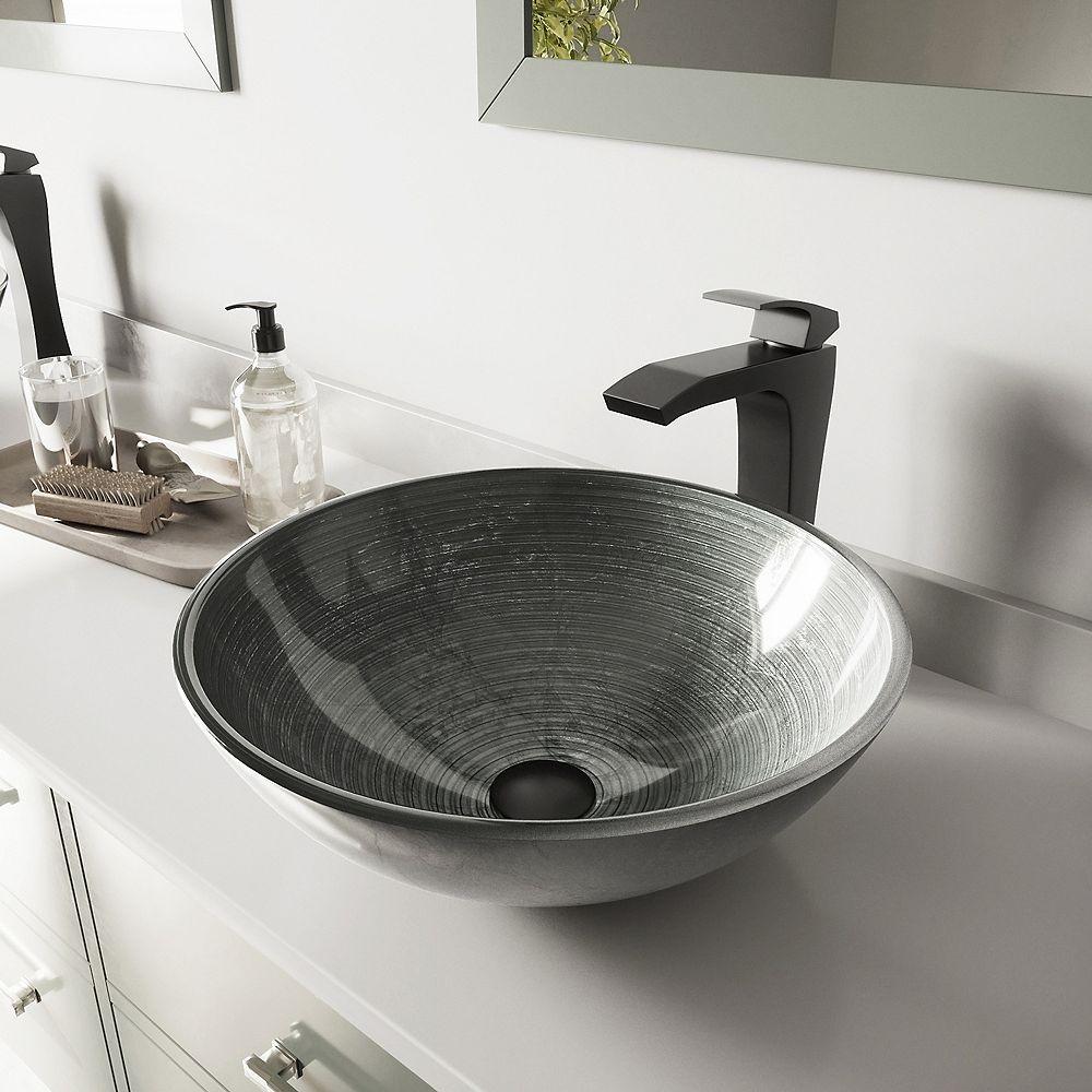 VIGO Glass Vessel Bathroom Sink in Simply Silver and Blackstonian Faucet Set in Matte Black