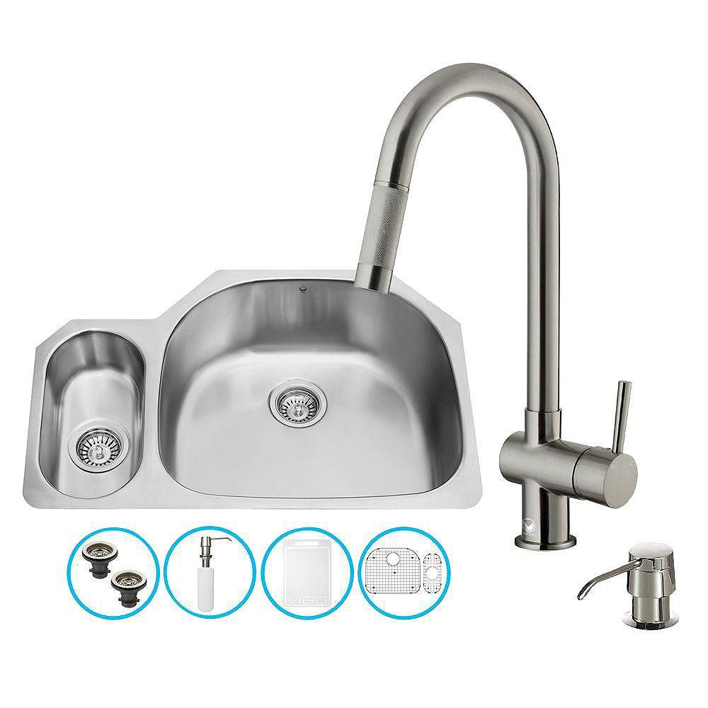 VIGO All-in-One Undermount Stainless Steel 32 inch Double Bowl Kitchen Sink with Pull Down Faucet in Stainless Steel