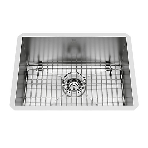 Ludlow Undermount Stainless Steel 23 inch Single Bowl Kitchen Bar Sink with 1 Grid, 1 Strainer in Stainless Steel