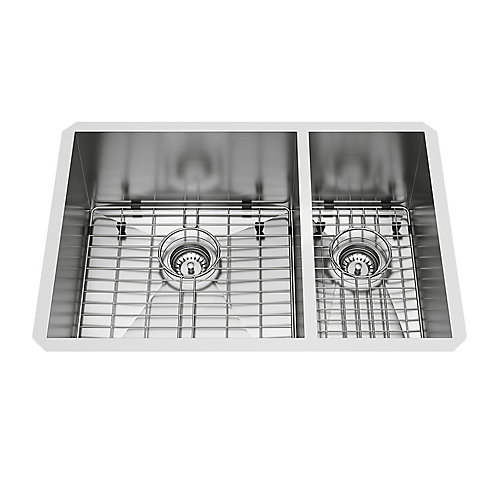 Endicott Undermount Stainless Steel 29 inch 60/40 Double Bowl Kitchen Bar Sink with Grids, Strainers in Stainless Steel