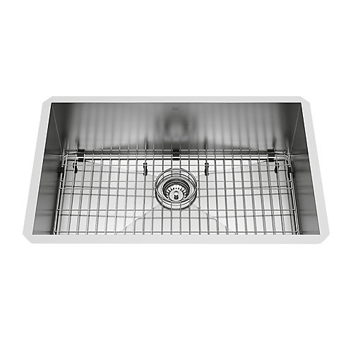 Ludlow Undermount Stainless Steel 30 inch Single Bowl Kitchen Bar Sink with 1 Grid, 1 Strainer in Stainless Steel
