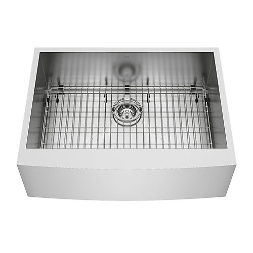 Camden Farmhouse Stainless Steel 30 inch 0-Hole Single Bowl Kitchen Sink with 1 Grid, 1 Strainer in Stainless Steel