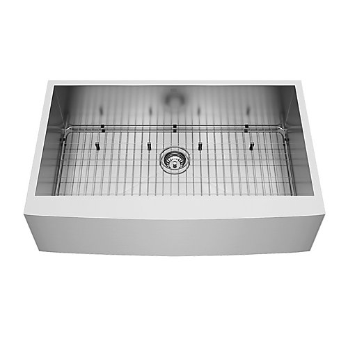 Camden Farmhouse Stainless Steel 36 inch 0-Hole Single Bowl Kitchen Sink in Stainless Steel