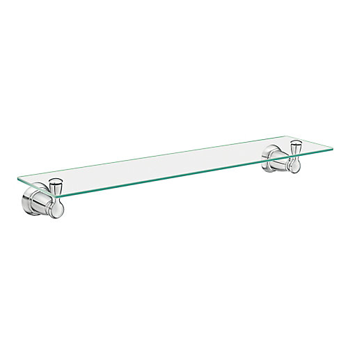 Banbury Wall-Mount Clear Glass Shelf in Chrome