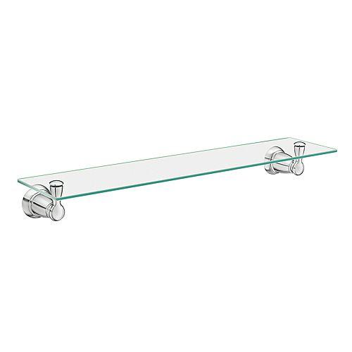 Banbury Wall-Mount Clear Glass Shelf in Chrome