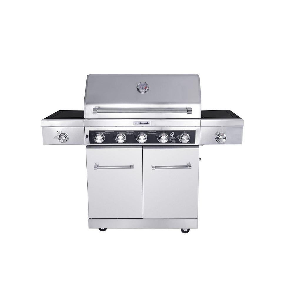 KitchenAid 5-Burner Propane Gas BBQ with Side Sear-Burner and Side-Burner