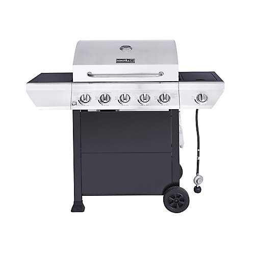 5-Burner Propane BBQ in Stainless Steel with Side Burner and Black Cabinet
