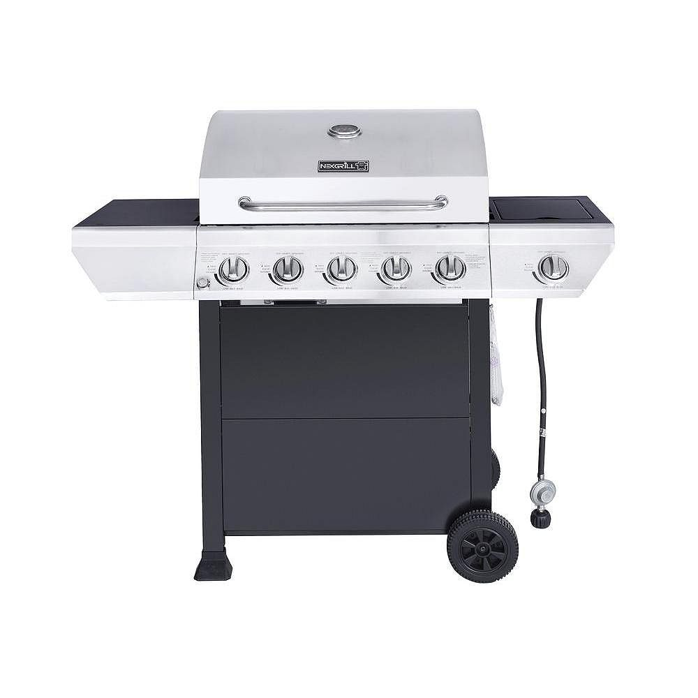 NexGrill 5-Burner Propane BBQ in Stainless Steel with Side Burner and Black Cabinet