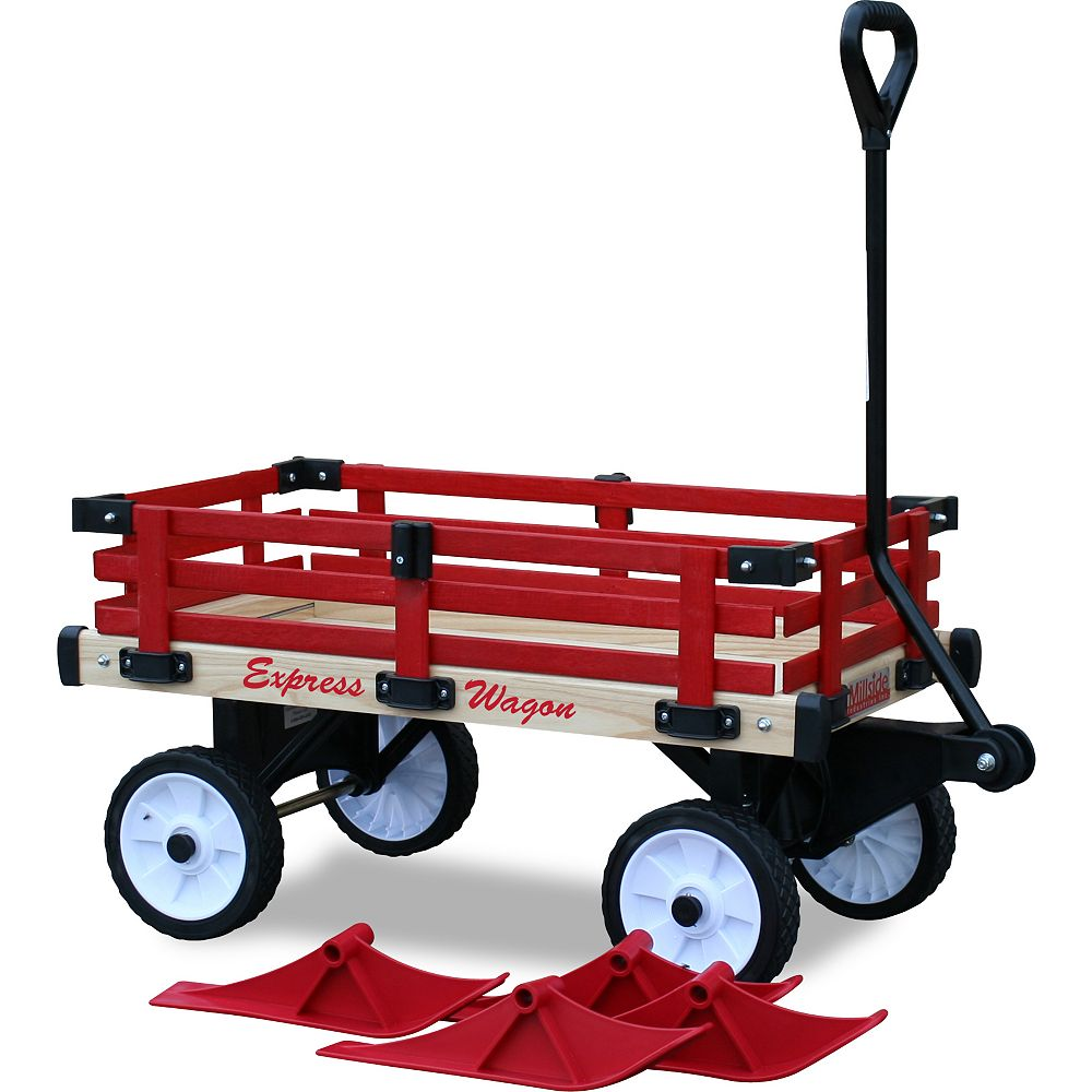 Millside Industries Convertible Sleigh Wagon with Red Rails