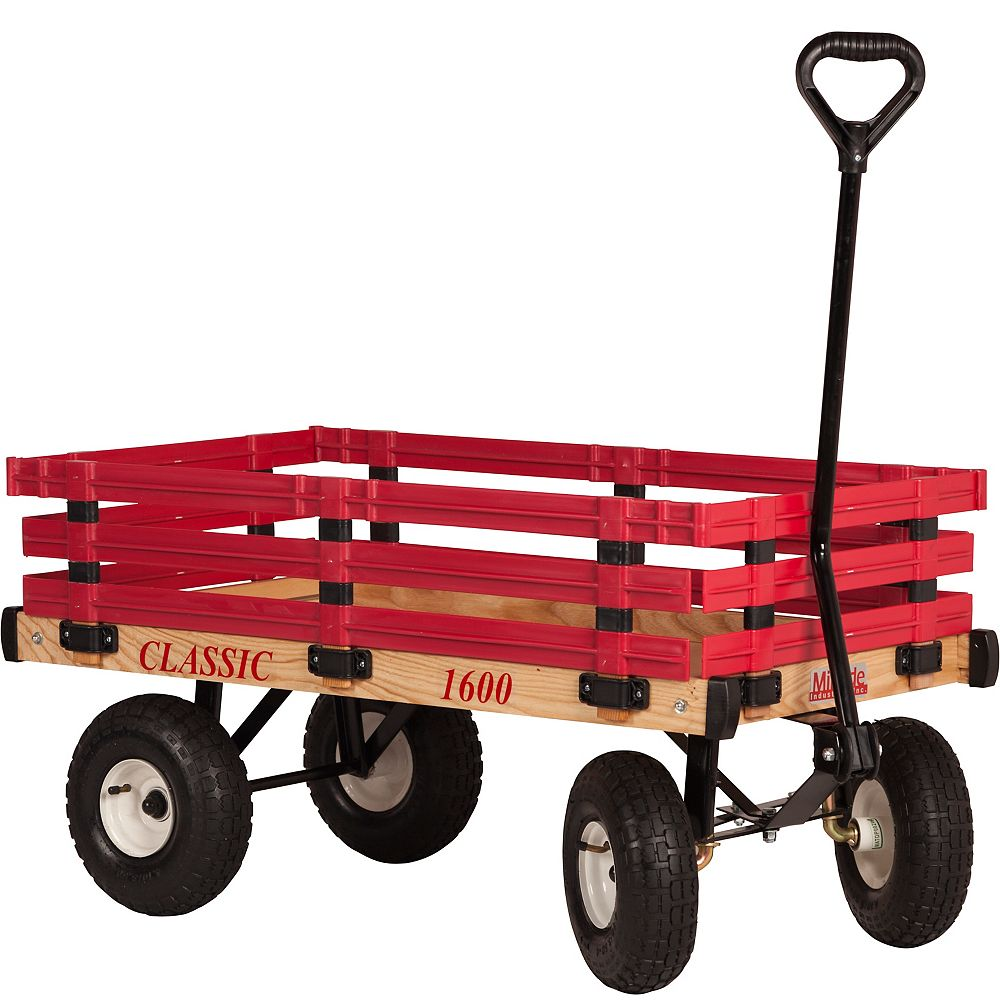 Millside Industries Kids' Classic 20-inch x 38-inch 500 lb. Wagon in Natural Wood and Red