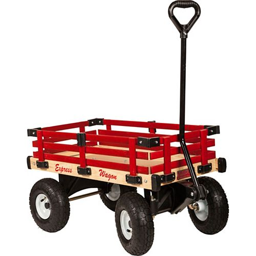 Kids Express Wagon with Removable Red Wood Tracks
