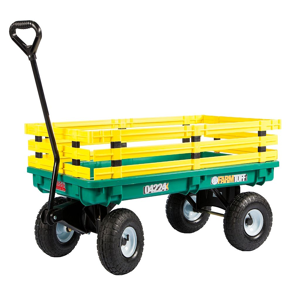 Millside Industries Kids' Trekker 20-inch x 38-inch 500 lb. Capacity Wagon in Green and Yellow