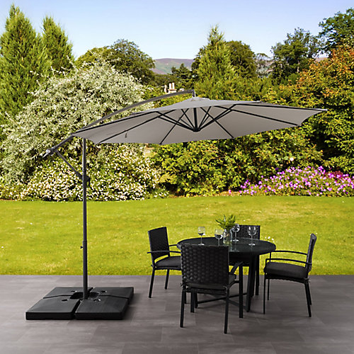 9.5 ft. UV Resistant Offset Sand Grey Patio Umbrella