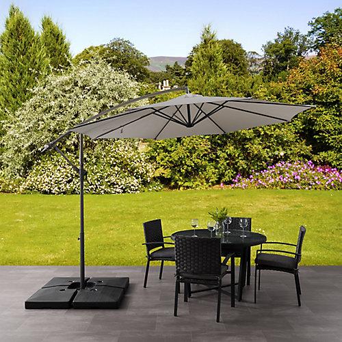 Parasol de patio excentré et resistant aux UV gris sable de 9,5 pieds