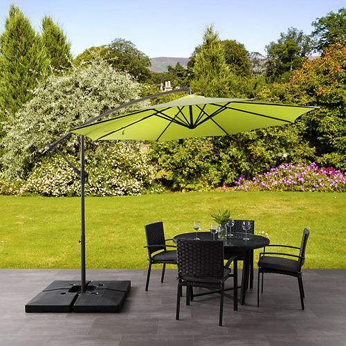 9.5 ft. UV Resistant Offset Lime Green Patio Umbrella