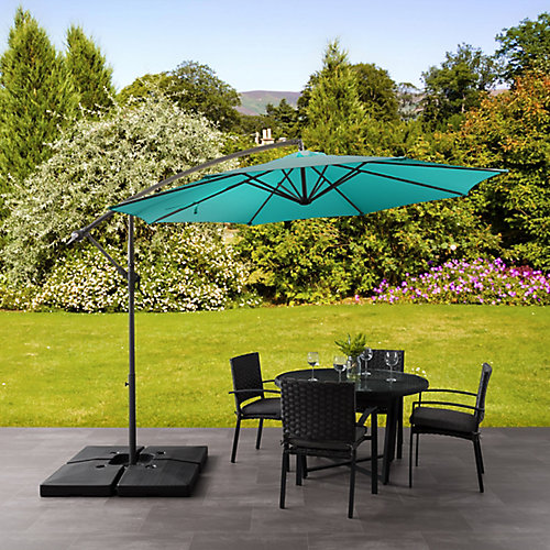 9.5 ft. UV Resistant Offset Turquoise Blue Patio Umbrella