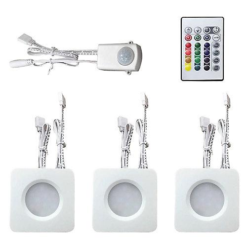 3 Light RBG/White LED Mini Puck Kit