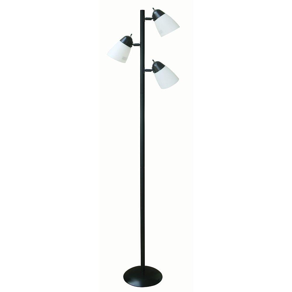 Hampton Bay 64.5-inch Black Track Tree Floor Lamp with 3 Plastic Shades