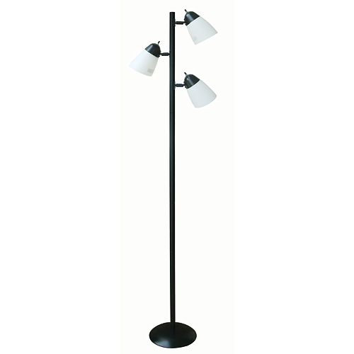 64.5-inch Black Track Tree Floor Lamp with 3 Plastic Shades