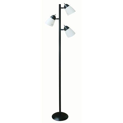Lampadaire à trois lampes, noir, diffuseurs en plastique, 162,5cm (64½po)