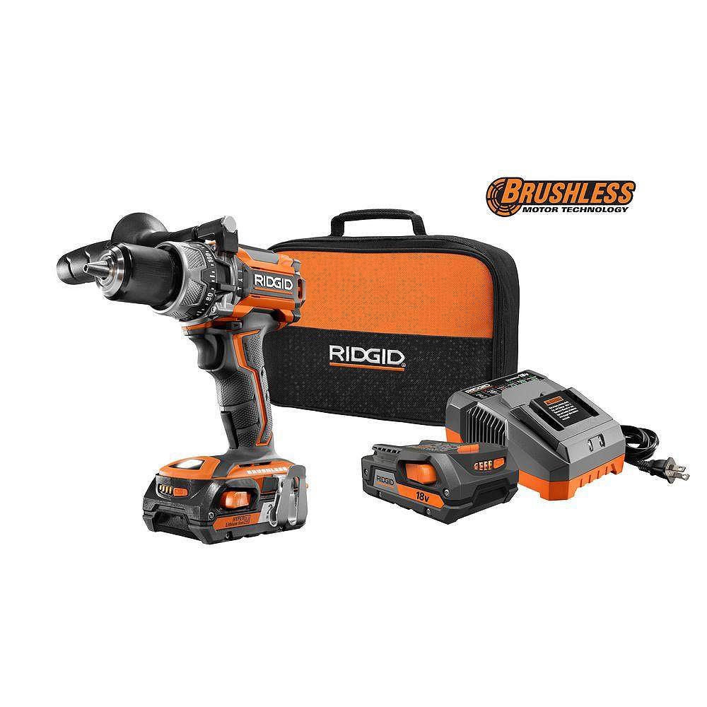 RIDGID 18V Lithium-Ion Cordless Brushless 1/2-Inch Compact Hammer Drill Kit with (2) 2.0 Ah Batteries