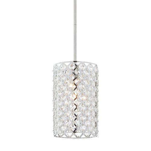 Luminaire suspendu, chrome poli, une ampoule, 60W, diffuseur ornementé de cristal à facettes