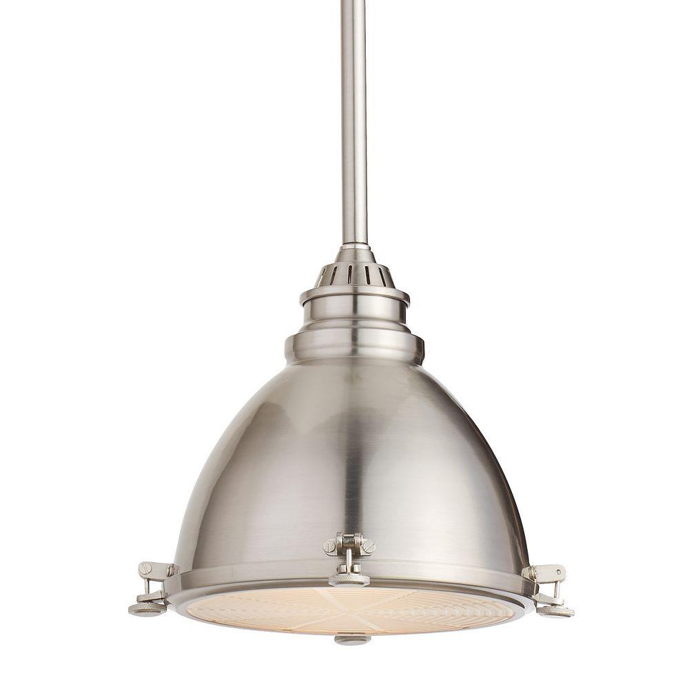 Home Decorators Collection Luminaire suspendu d'entrepôt, nickel brossé, une ampoule, 60W, abat-jour dôme en métal