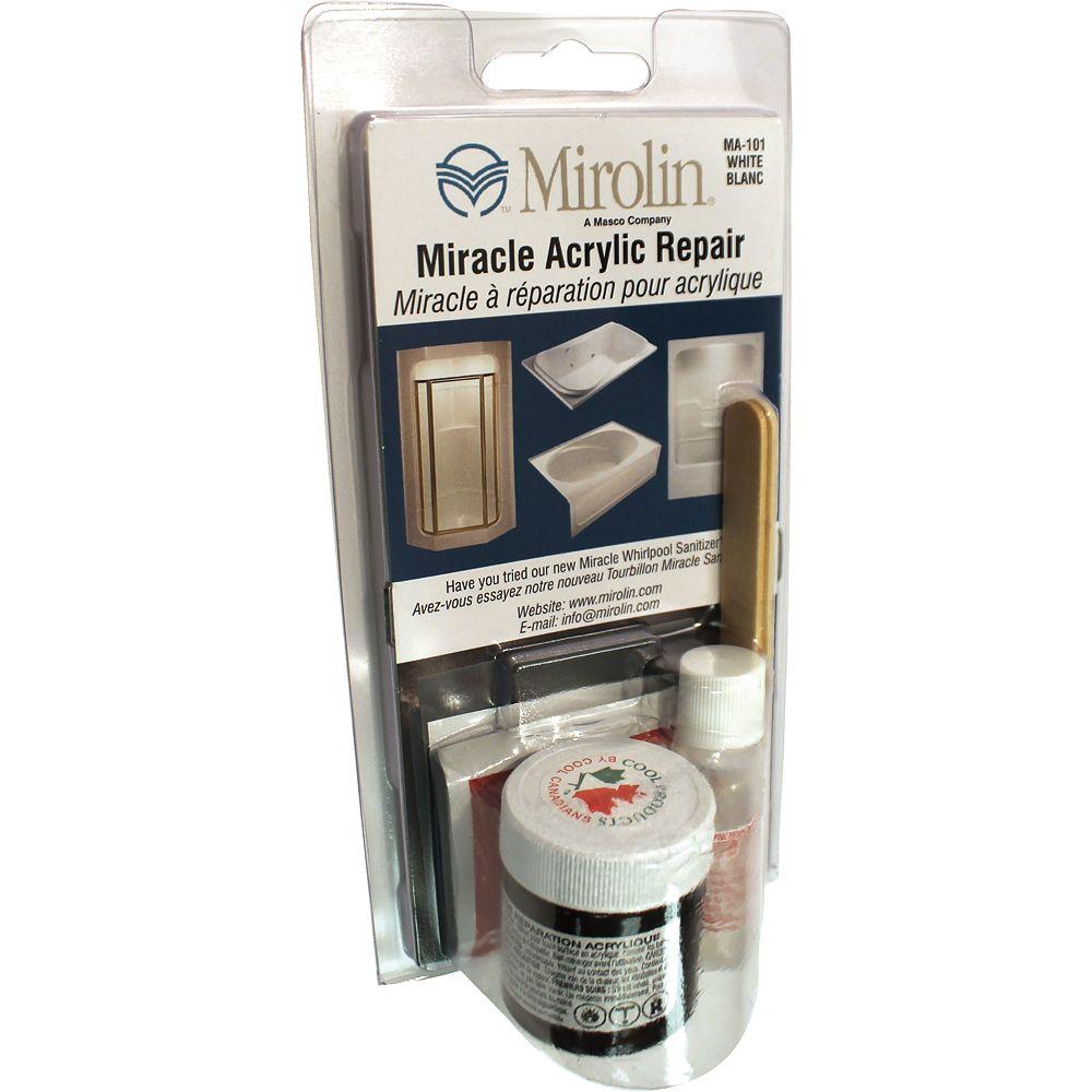 Mirolin 3-inch W x 5-inch H Acrylic Repair Kit in White