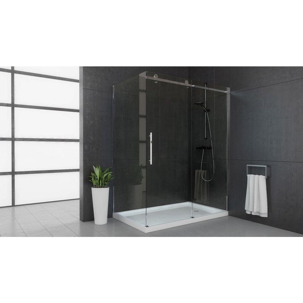 Mirolin 58.50-inch x 74.50-inch Frameless Rectangular Bypass/Sliding Shower Door and Towel Bar