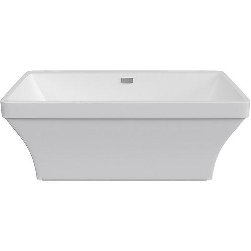 Cruz 5 ft. 6-inch Acrylic Freestanding Bathtub with Centre Drain in White