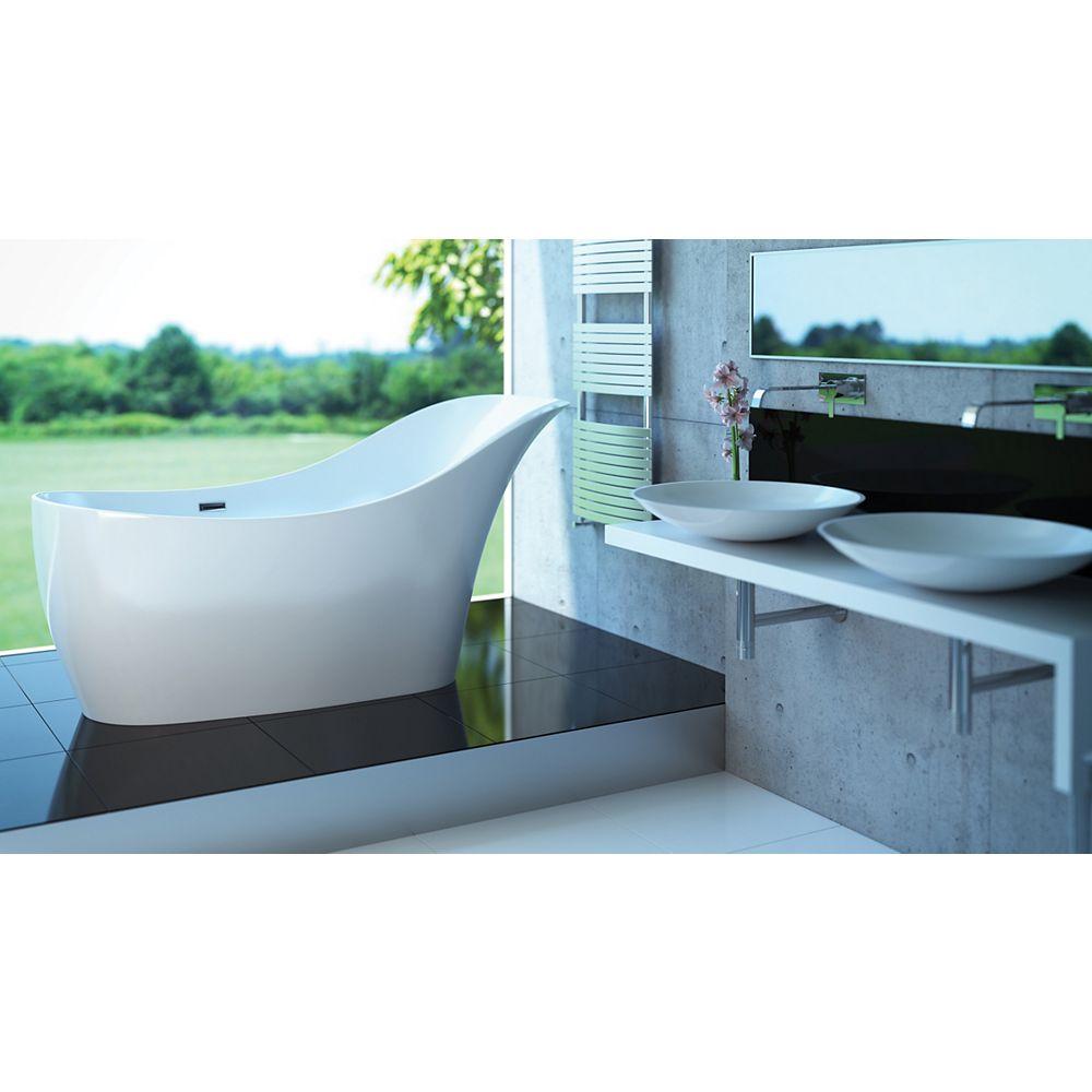 Mirolin Sirena 5 Feet 6-Inch Stone Freestanding Non Whirlpool Bathtub in White