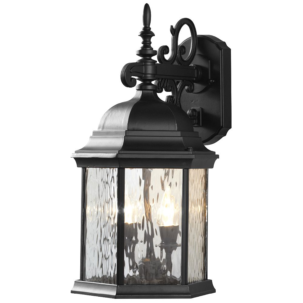 Hampton Bay 12W 2-Light Matte Black LED Outdoor Wall Lantern with Water Glass Panels