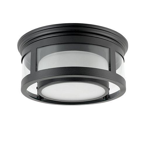 100W 1-Light Matte Black Outdoor Flushmount