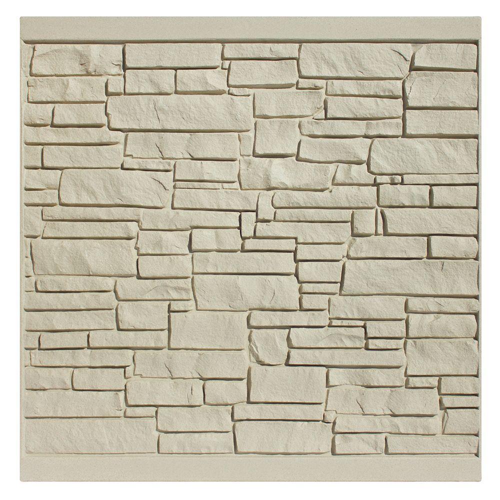 EcoStone 6 X 6   Fence Panel - Beige Granite
